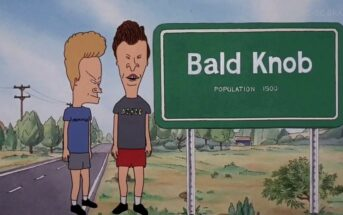 Beavis and Butthead beside Bald Knob road sign